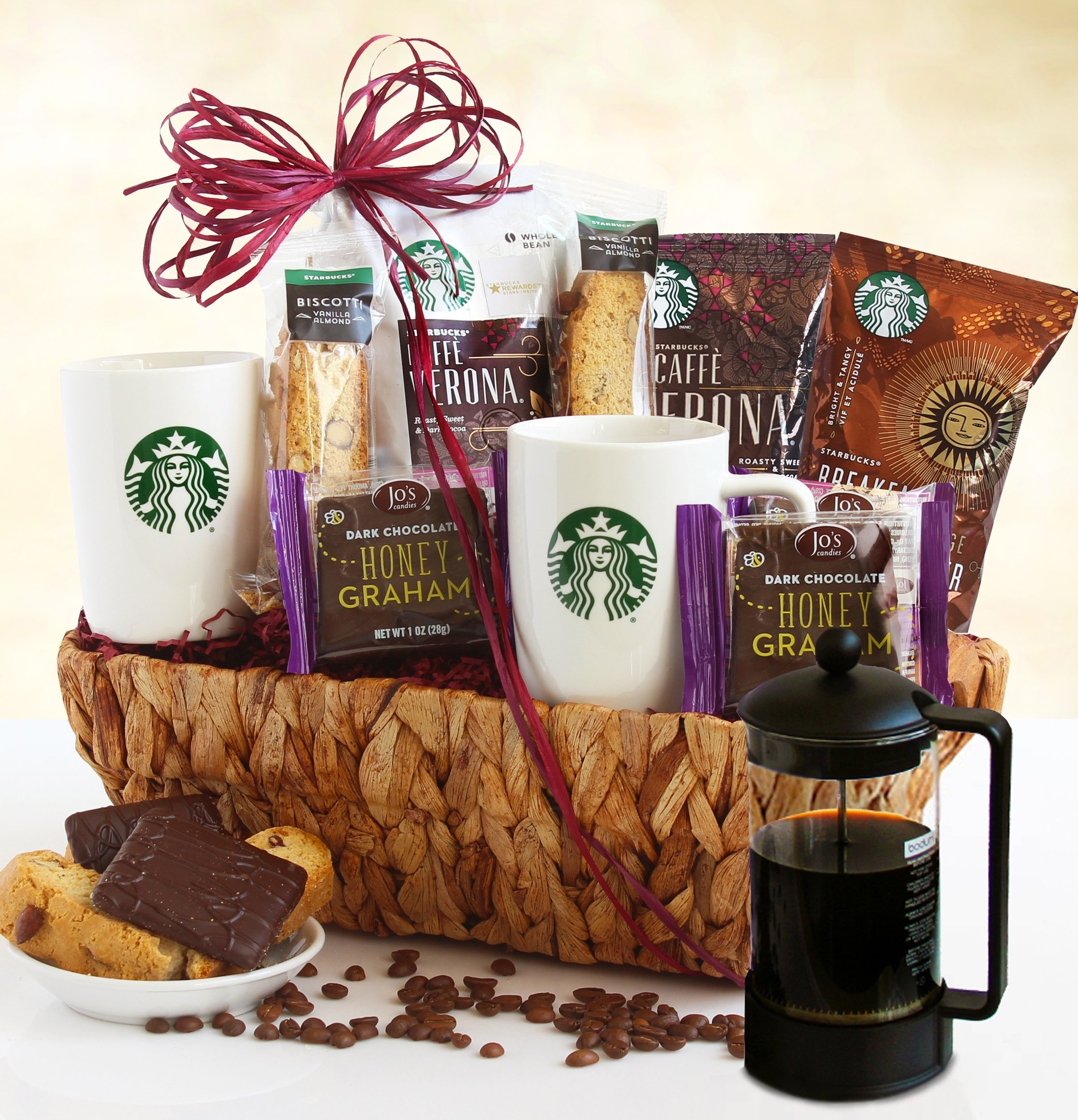 Image 0 of Starbucks Lover: Coffee Gift Basket with Coffee Press